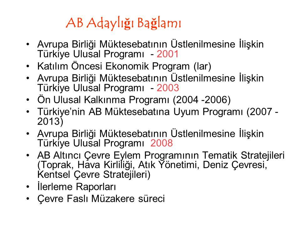 AB Adaylığı Bağlamı Avrupa Birliği Müktesebatının Üstlenilmesine İlişkin Türkiye Ulusal Programı - 2001.