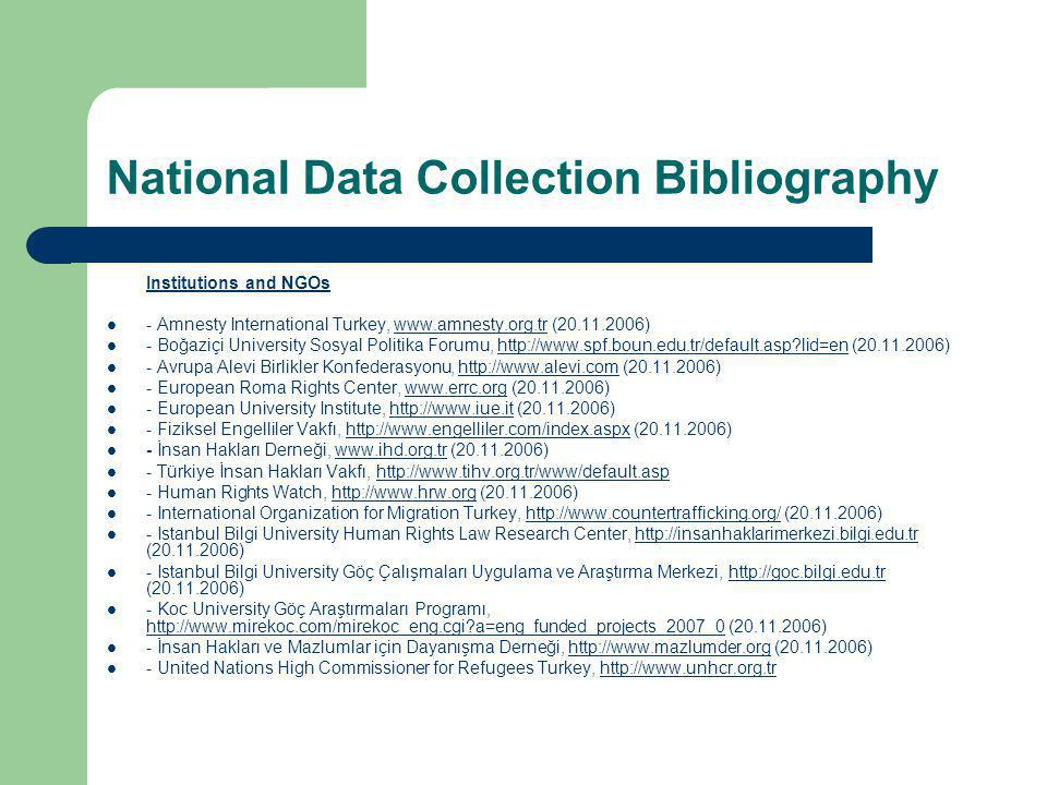 National Data Collection Bibliography