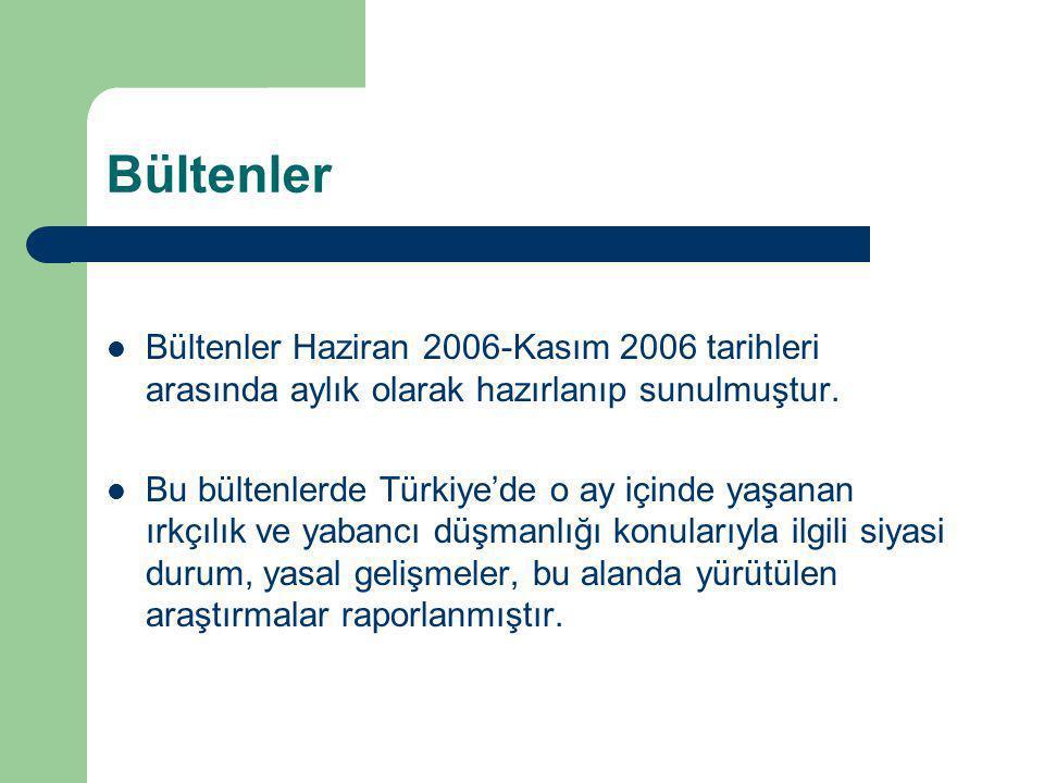 Bültenler Bültenler Haziran 2006-Kasım 2006 tarihleri arasında aylık olarak hazırlanıp sunulmuştur.