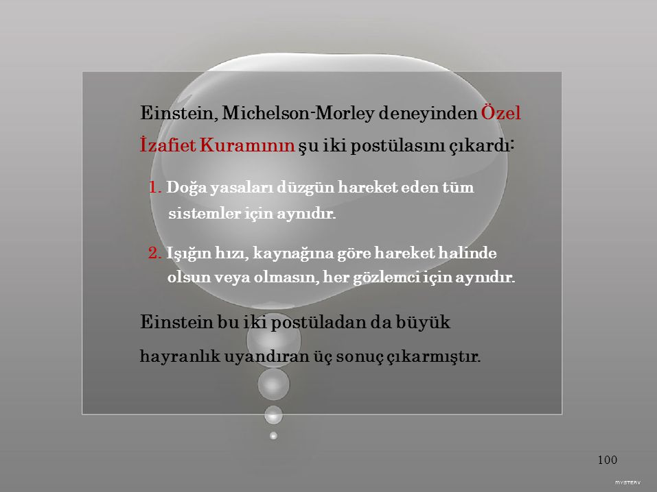 Einstein, Michelson-Morley deneyinden Özel