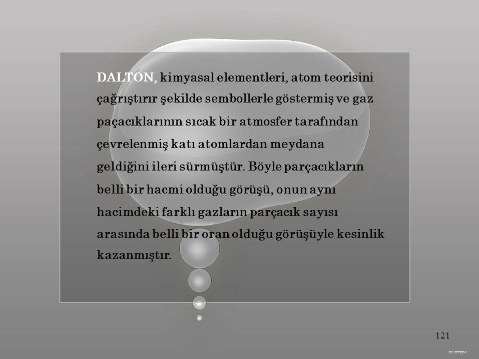 DALTON, kimyasal elementleri, atom teorisini