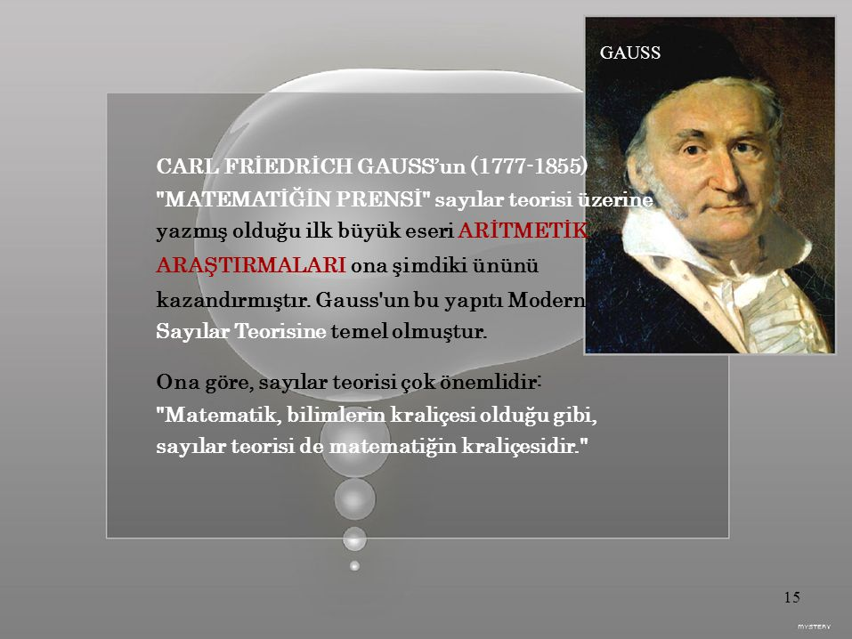 CARL FRİEDRİCH GAUSS'un (1777-1855)