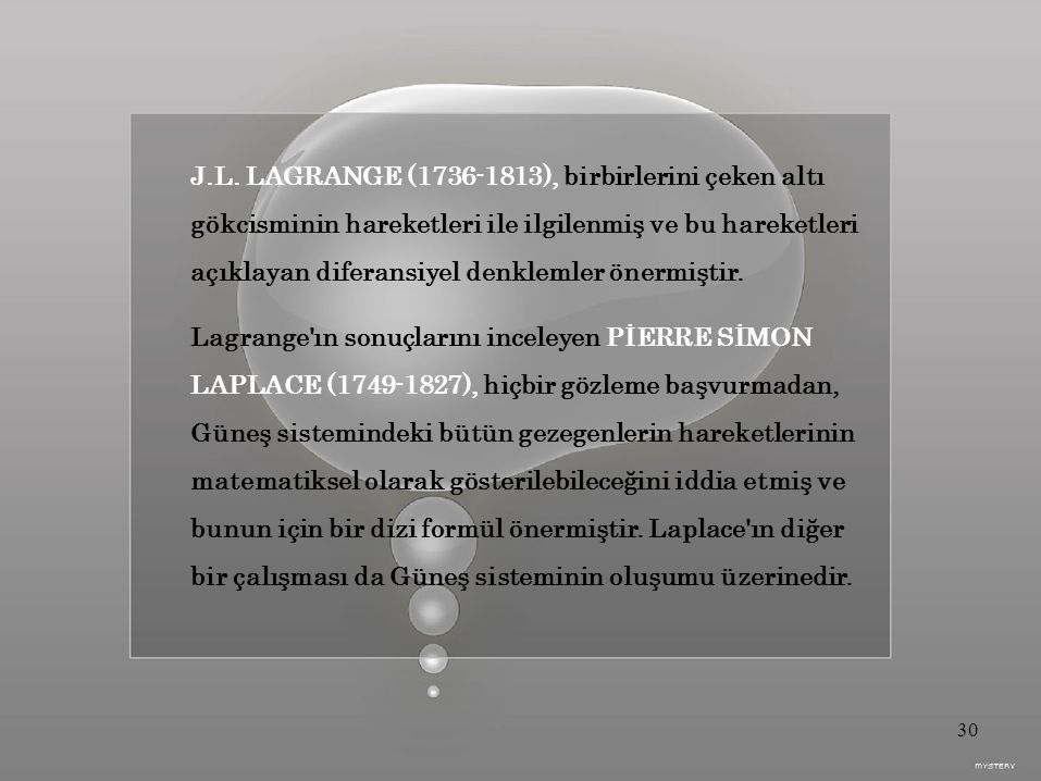 J.L. LAGRANGE (1736-1813), birbirlerini çeken altı