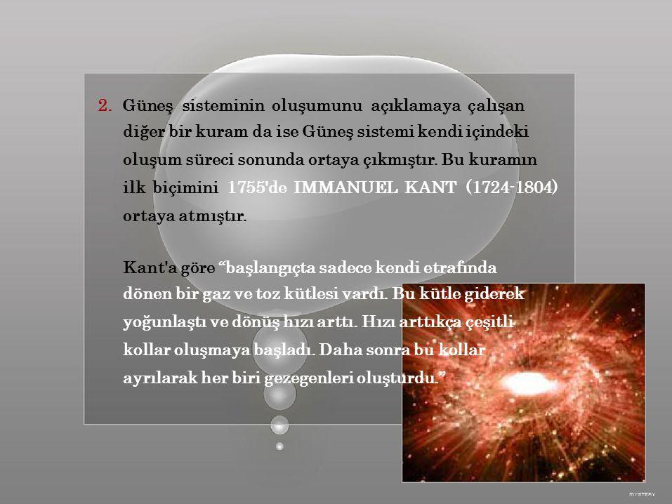 2. Güneş sisteminin oluşumunu açıklamaya çalışan