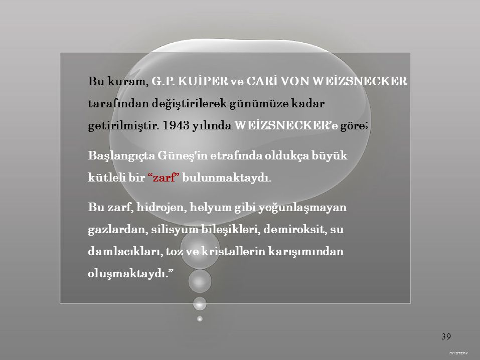 Bu kuram, G.P. KUİPER ve CARİ VON WEİZSNECKER