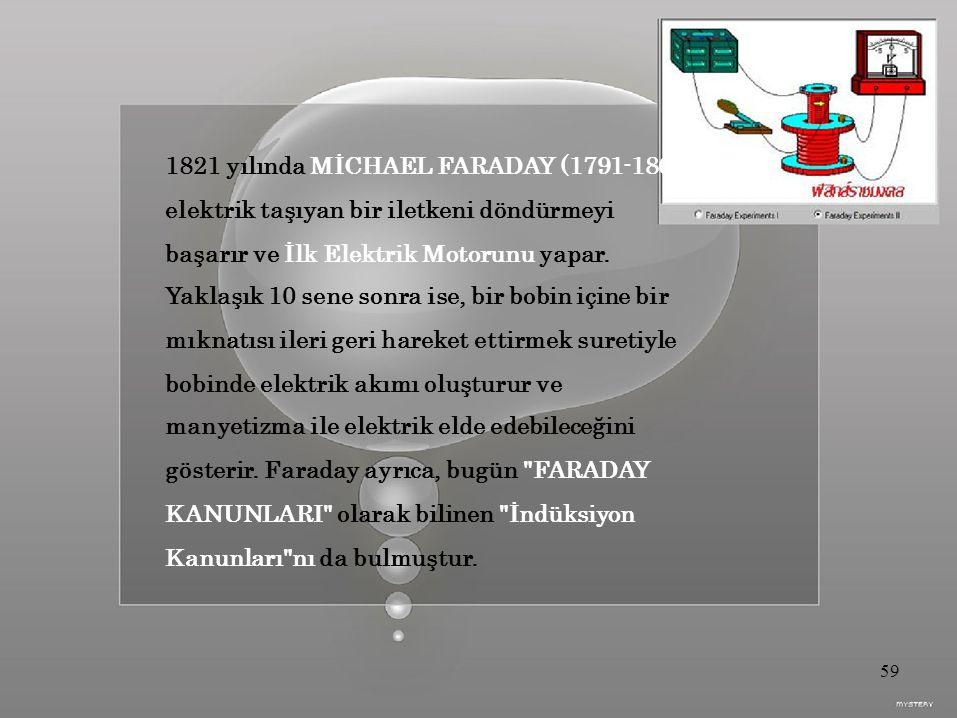 1821 yılında MİCHAEL FARADAY (1791-1867),