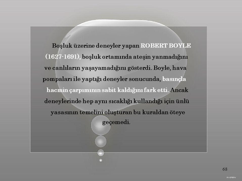 Boşluk üzerine deneyler yapan ROBERT BOYLE