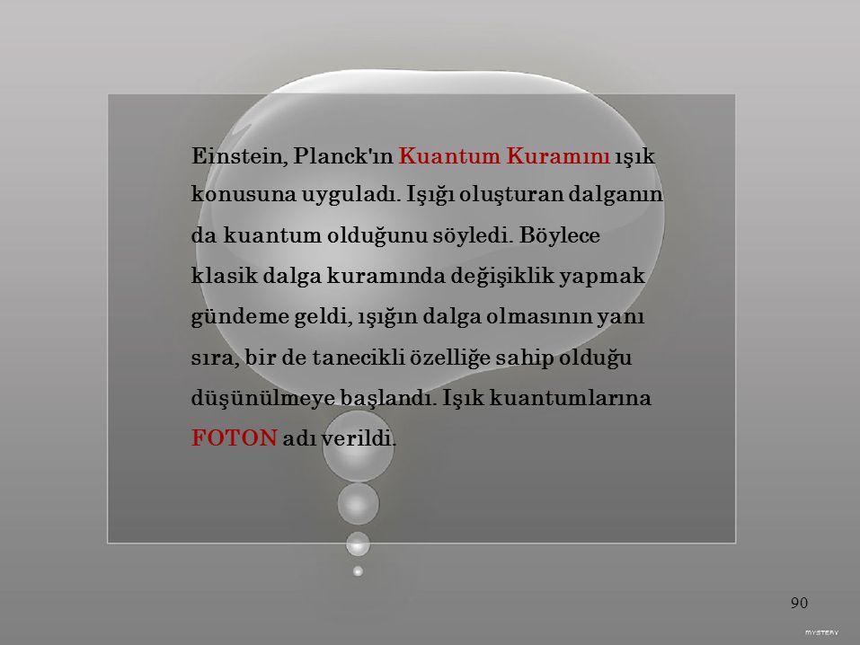 Einstein, Planck ın Kuantum Kuramını ışık