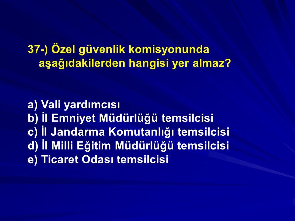 37-) Özel güvenlik komisyonunda aşağıdakilerden hangisi yer almaz