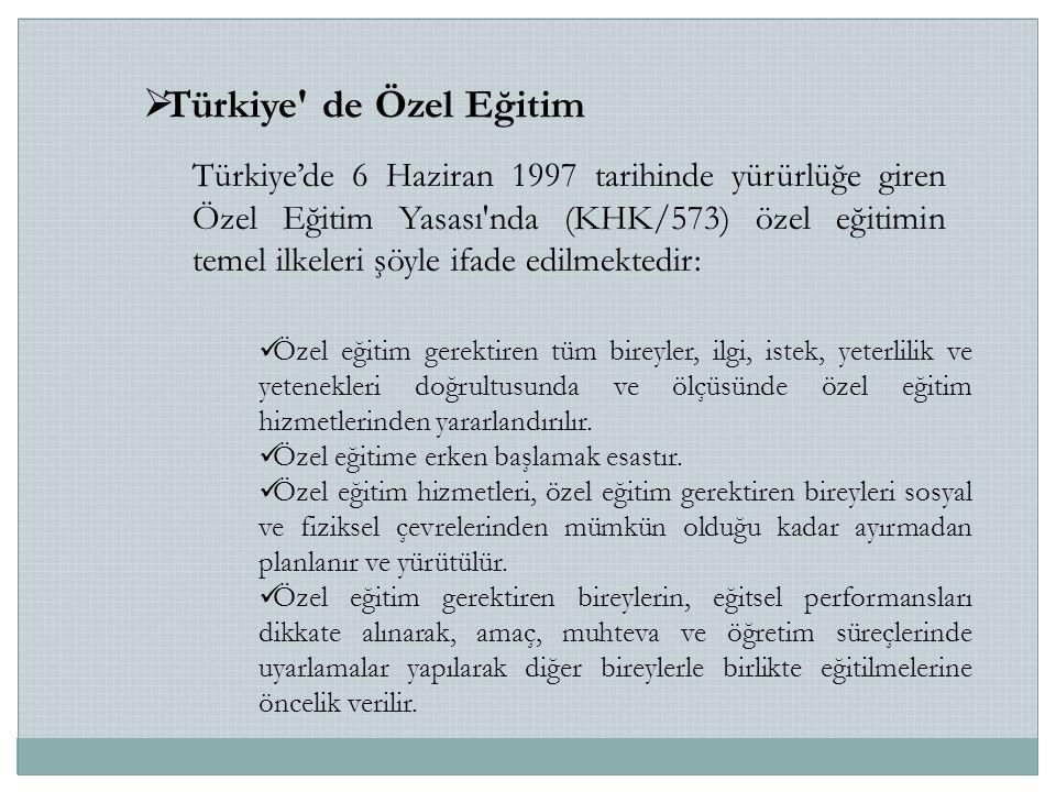 Türkiye de Özel Eğitim