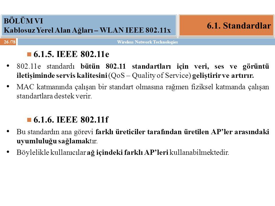 6.1. Standardlar 6.1.5. IEEE 802.11e 6.1.6. IEEE 802.11f