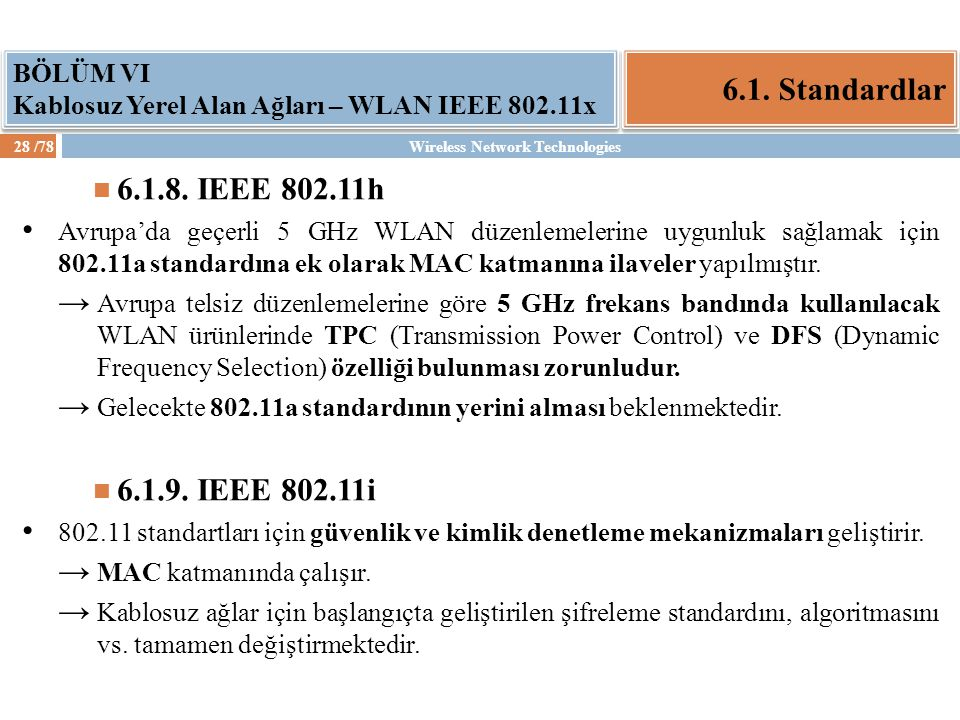 6.1. Standardlar 6.1.8. IEEE 802.11h 6.1.9. IEEE 802.11i