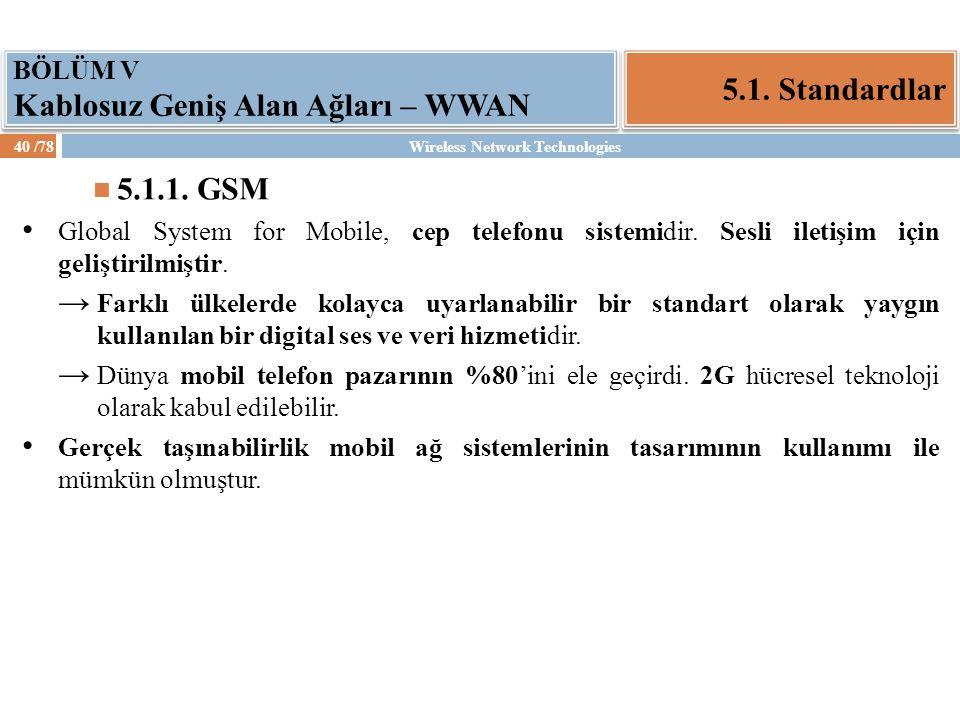5.1. Standardlar 5.1.1. GSM BÖLÜM V Kablosuz Geniş Alan Ağları – WWAN
