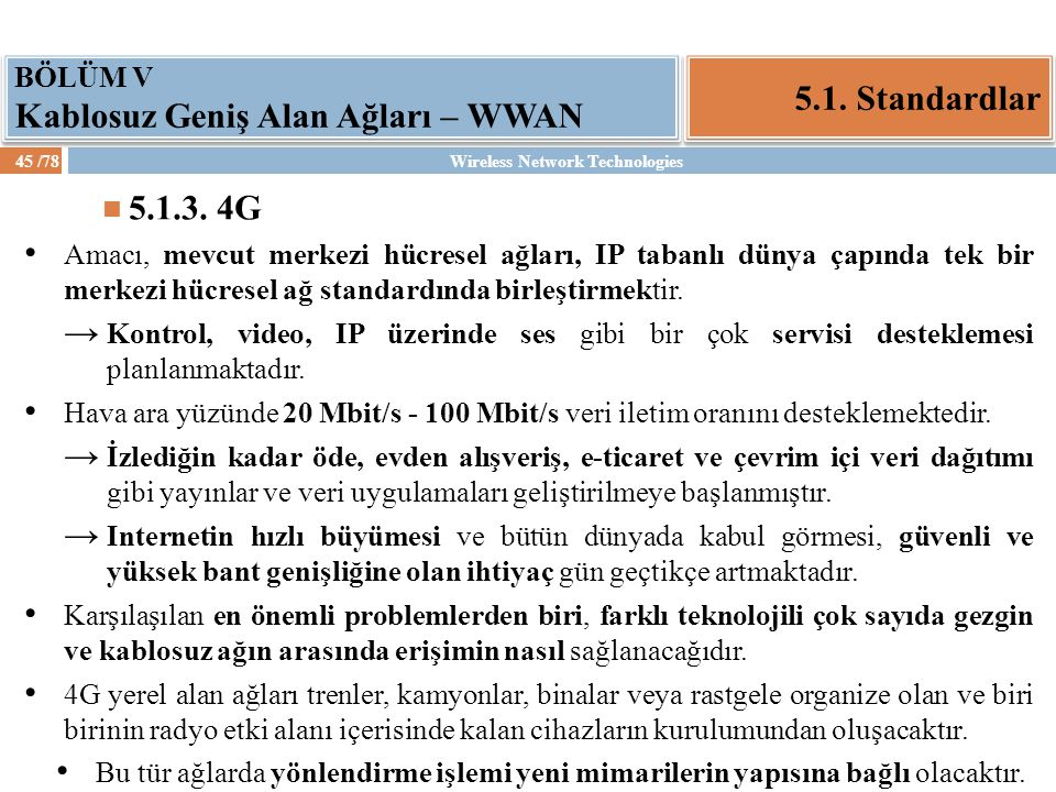 5.1. Standardlar 5.1.3. 4G BÖLÜM V Kablosuz Geniş Alan Ağları – WWAN