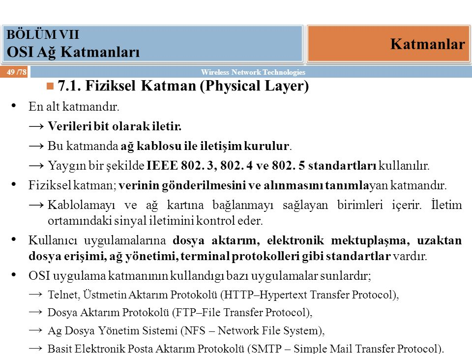 7.1. Fiziksel Katman (Physical Layer)