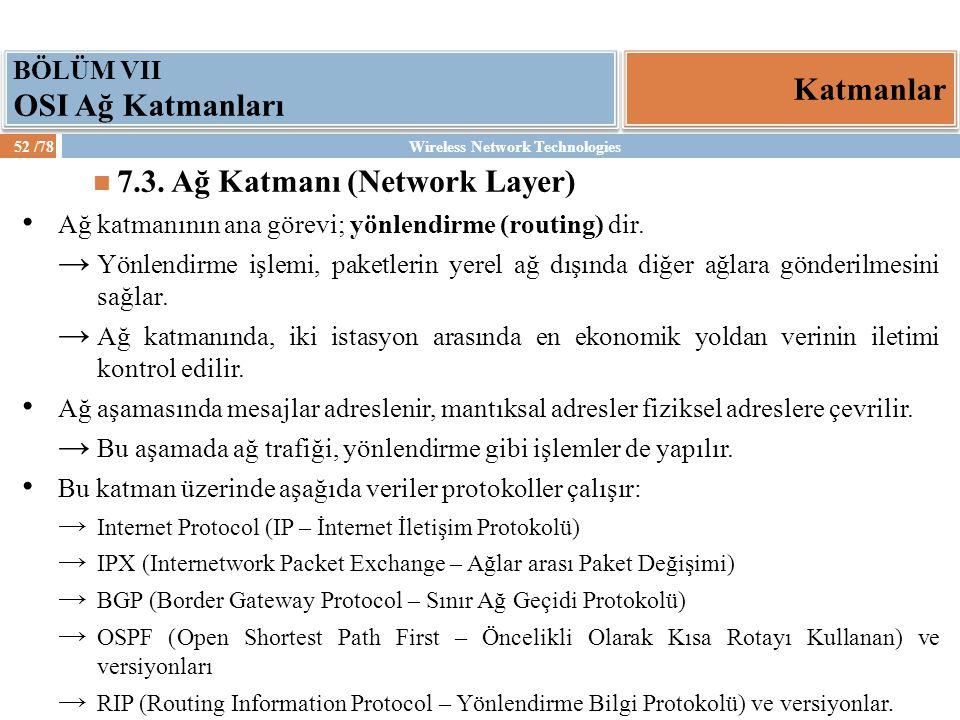 7.3. Ağ Katmanı (Network Layer)