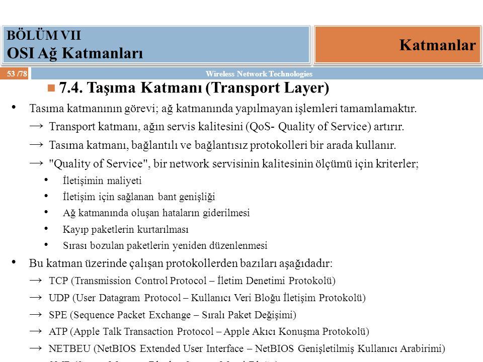 7.4. Taşıma Katmanı (Transport Layer)