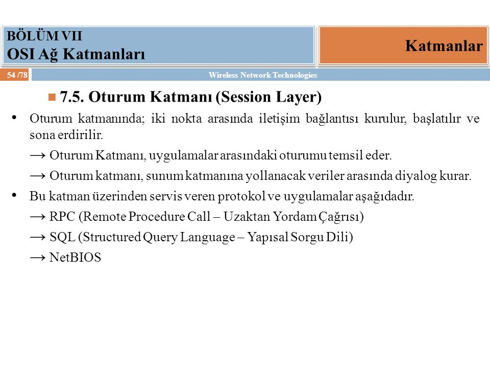 7.5. Oturum Katmanı (Session Layer)
