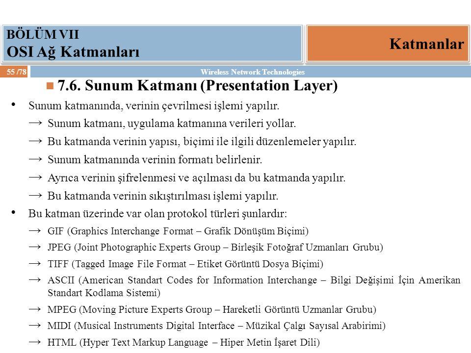 7.6. Sunum Katmanı (Presentation Layer)