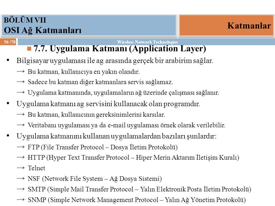 7.7. Uygulama Katmanı (Application Layer)