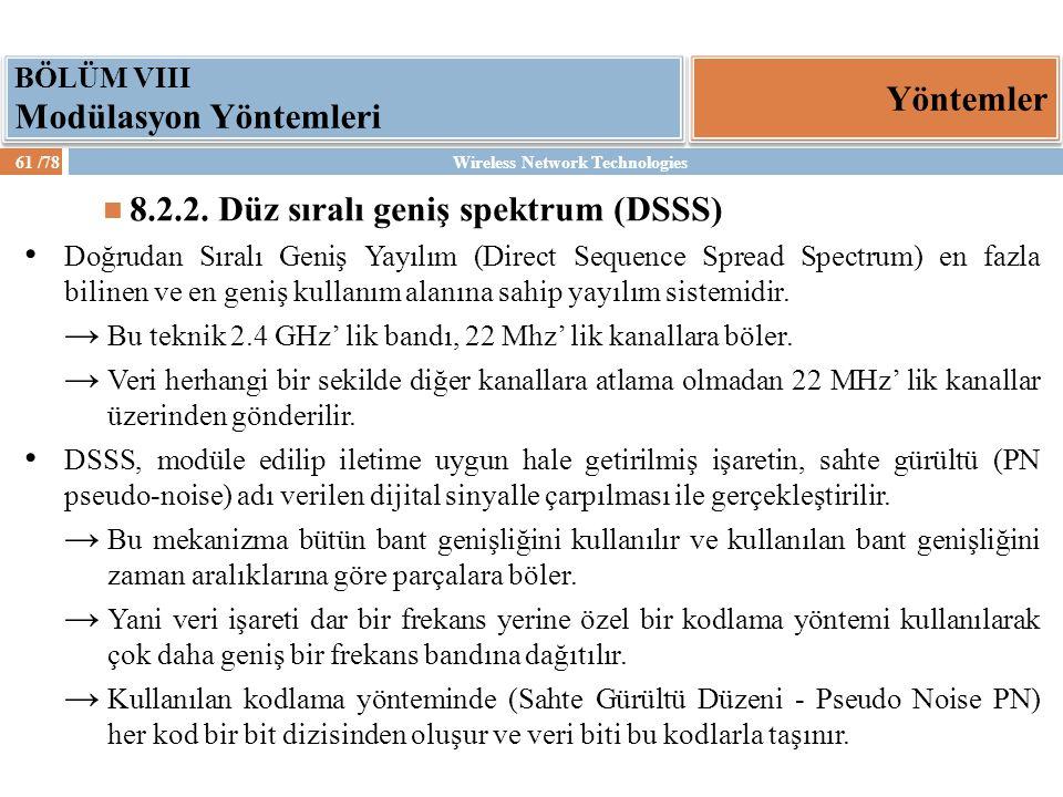 8.2.2. Düz sıralı geniş spektrum (DSSS)