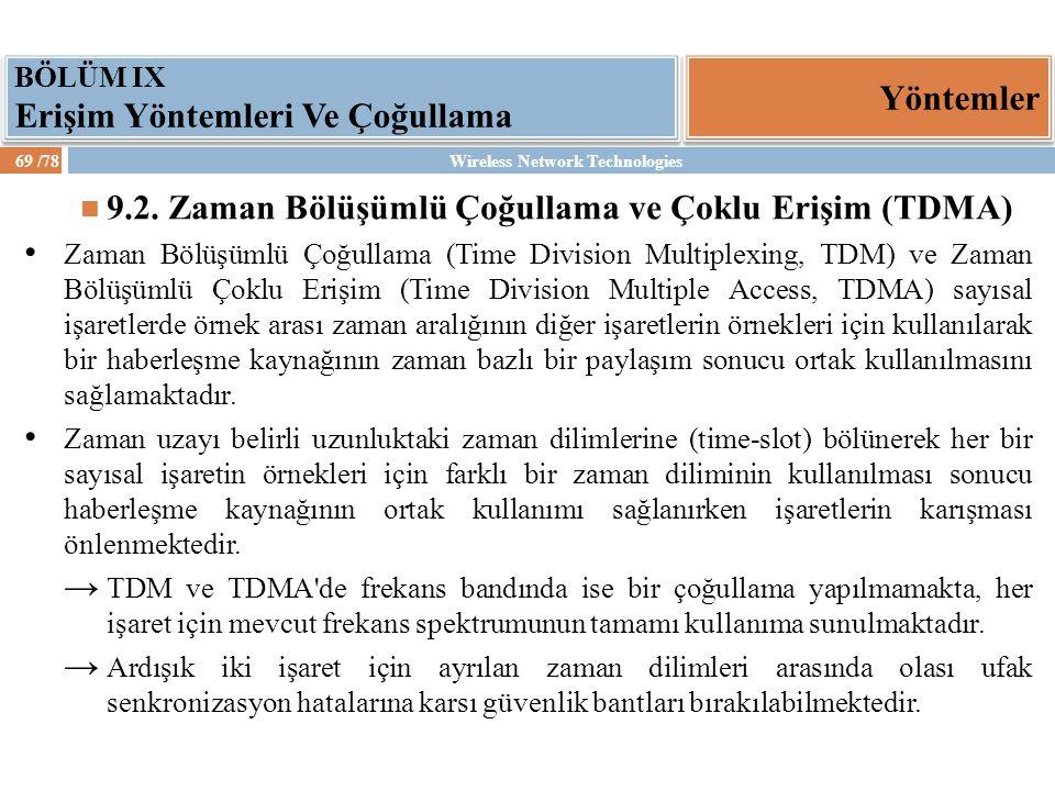 9.2. Zaman Bölüşümlü Çoğullama ve Çoklu Erişim (TDMA)