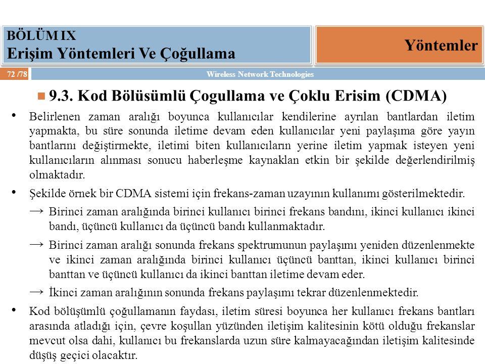 9.3. Kod Bölüsümlü Çogullama ve Çoklu Erisim (CDMA)