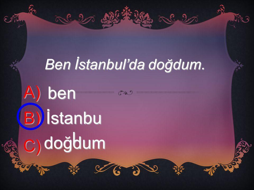 Ben İstanbul'da doğdum.
