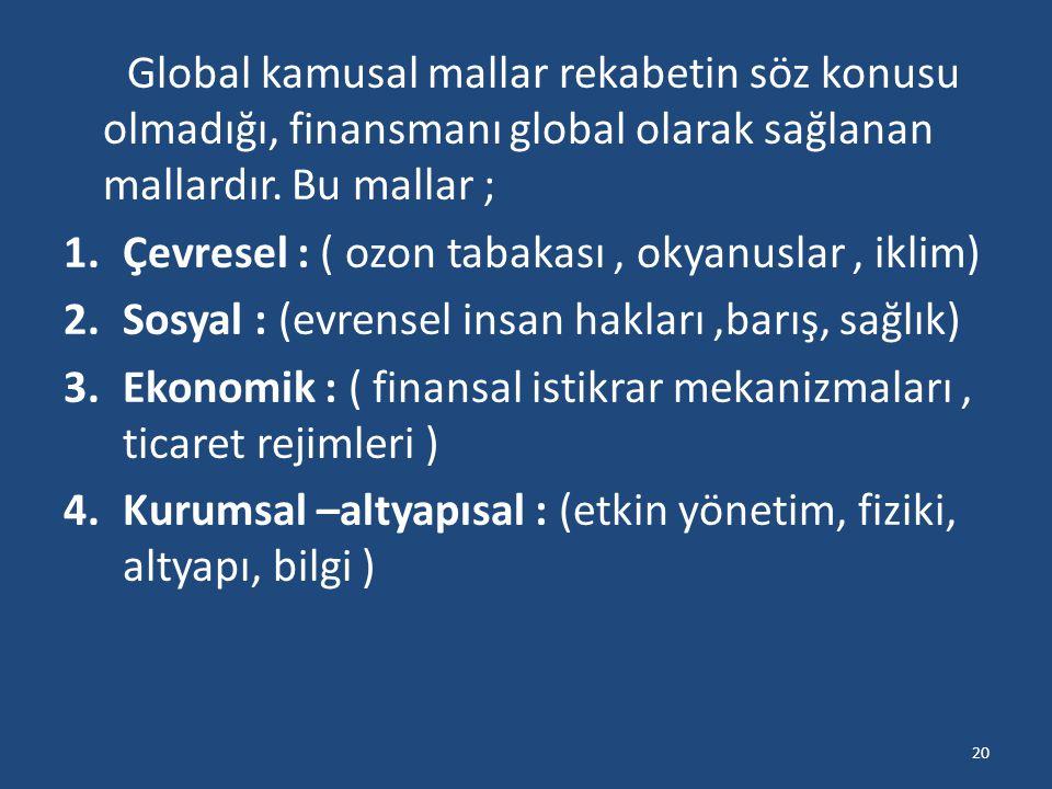 Global kamusal mallar rekabetin söz konusu olmadığı, finansmanı global olarak sağlanan mallardır. Bu mallar ;