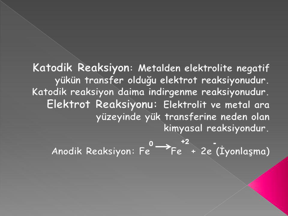 Katodik Reaksiyon: Metalden elektrolite negatif yükün transfer olduğu elektrot reaksiyonudur. Katodik reaksiyon daima indirgenme reaksiyonudur.
