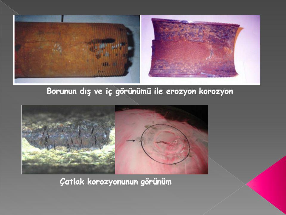 Borunun dış ve iç görünümü ile erozyon korozyon