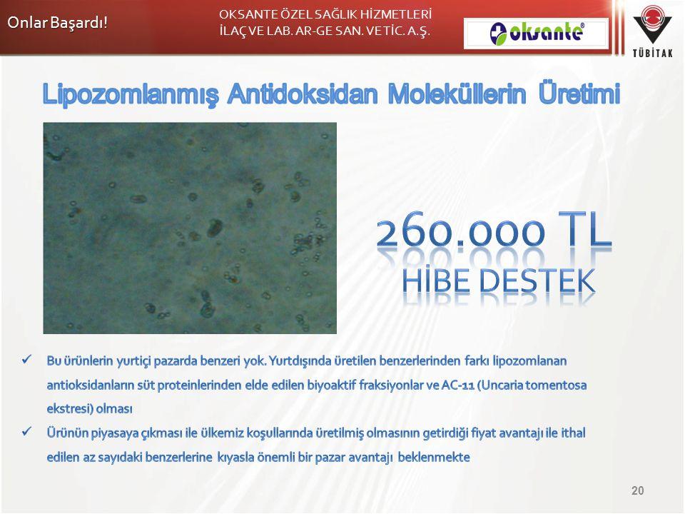 260.000 TL Hİbe Destek Lipozomlanmış Antidoksidan Moleküllerin Üretimi