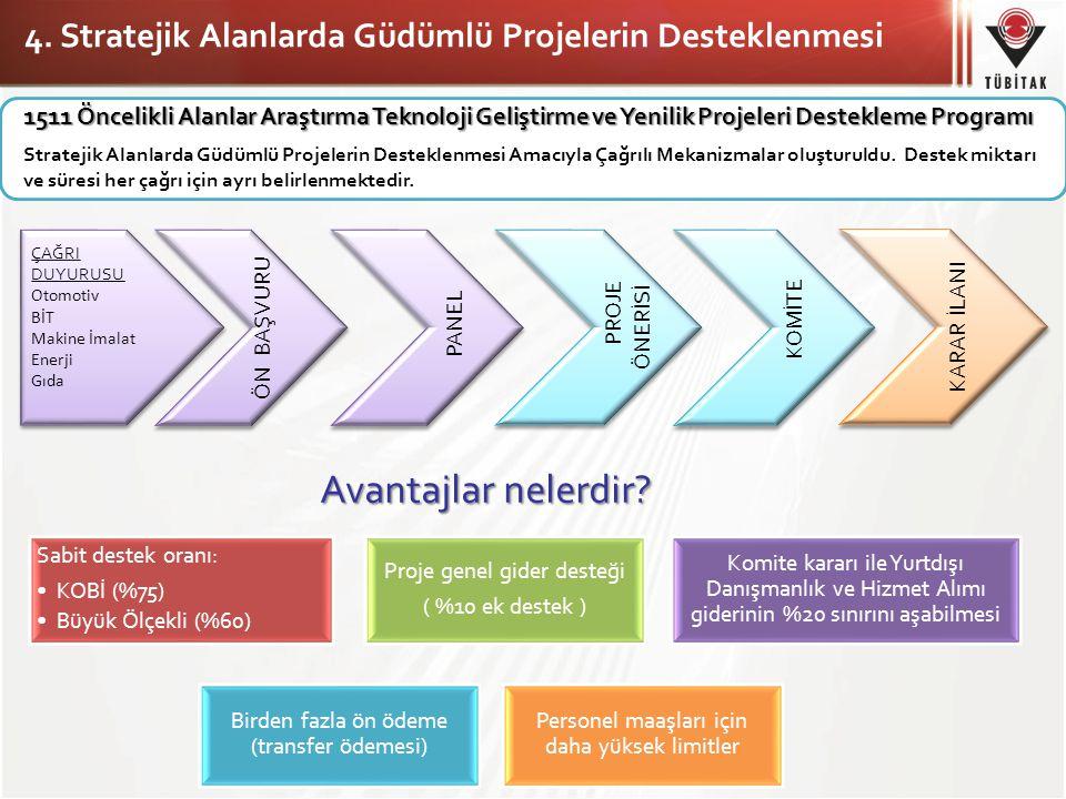 4. Stratejik Alanlarda Güdümlü Projelerin Desteklenmesi