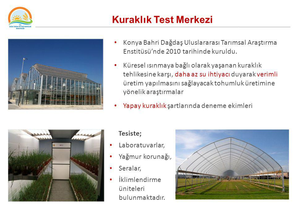 Kuraklık Test Merkezi Konya Bahri Dağdaş Uluslararası Tarımsal Araştırma Enstitüsü'nde 2010 tarihinde kuruldu.