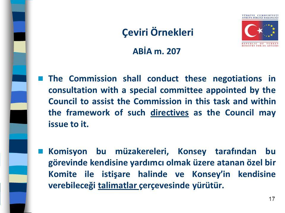 Çeviri Örnekleri ABİA m. 207
