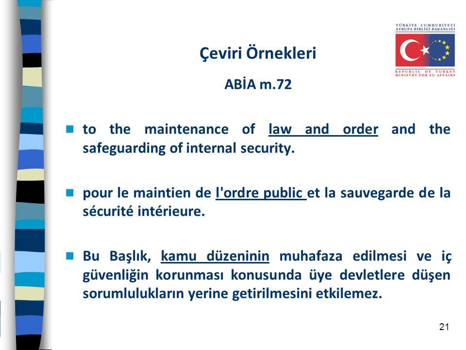Çeviri Örnekleri ABİA m.72