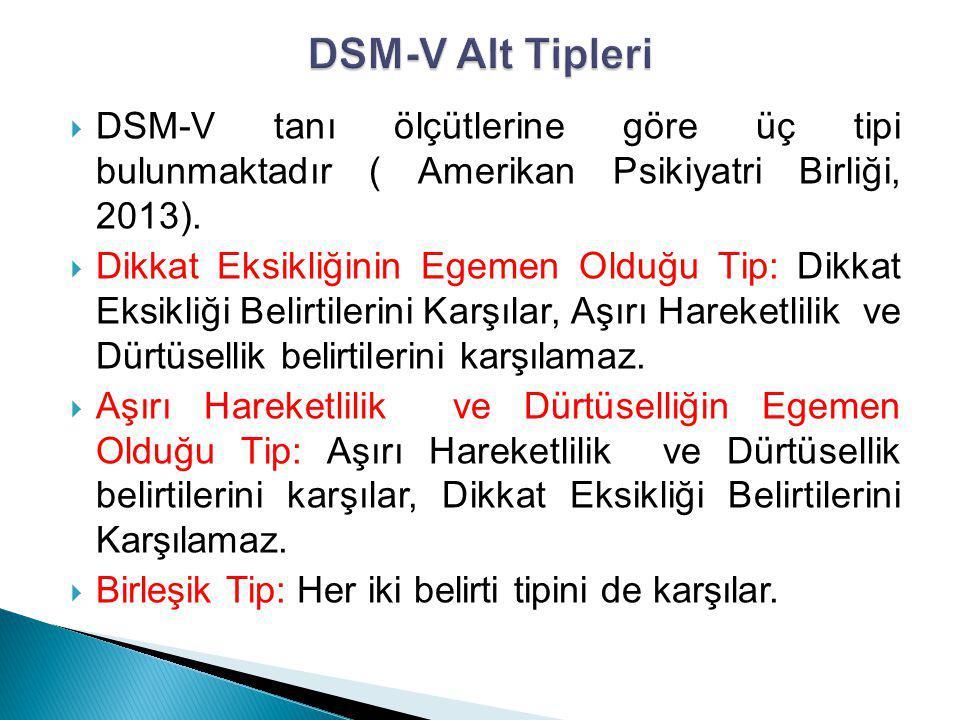 DSM-V Alt Tipleri DSM-V tanı ölçütlerine göre üç tipi bulunmaktadır ( Amerikan Psikiyatri Birliği, 2013).