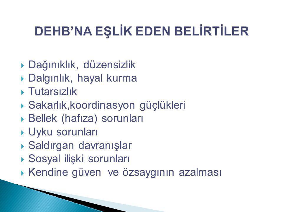 DEHB'NA EŞLİK EDEN BELİRTİLER
