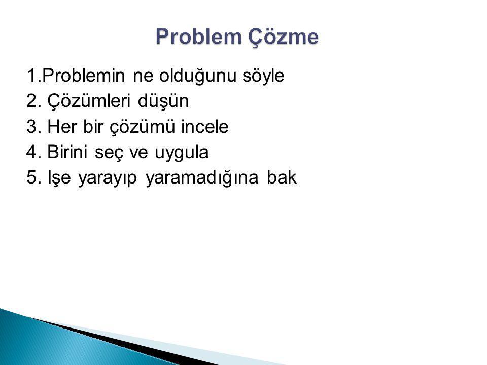 Problem Çözme 1.Problemin ne olduğunu söyle 2. Çözümleri düşün 3.