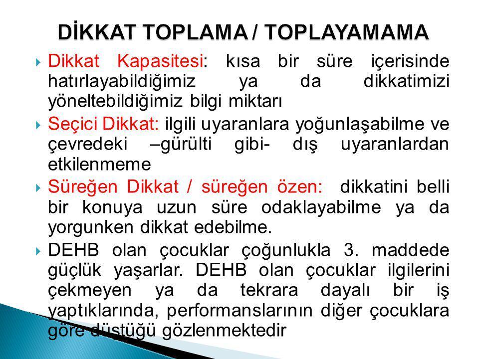 DİKKAT TOPLAMA / TOPLAYAMAMA
