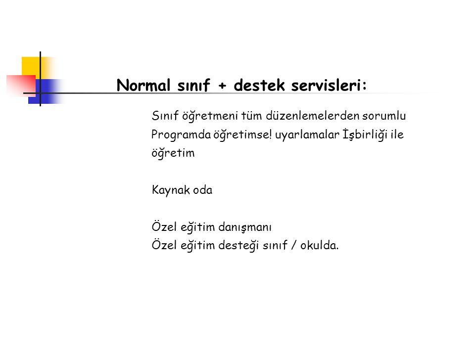 Normal sınıf + destek servisleri: