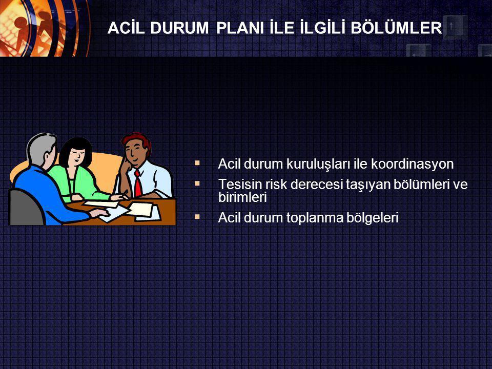 ACİL DURUM PLANI İLE İLGİLİ BÖLÜMLER