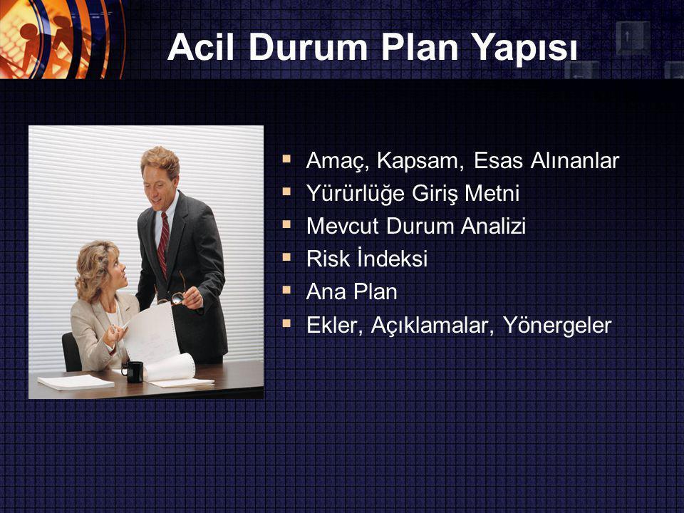 Acil Durum Plan Yapısı Amaç, Kapsam, Esas Alınanlar
