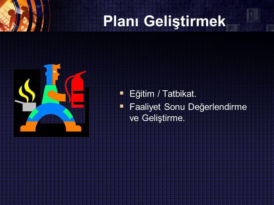 Planı Geliştirmek Eğitim / Tatbikat.