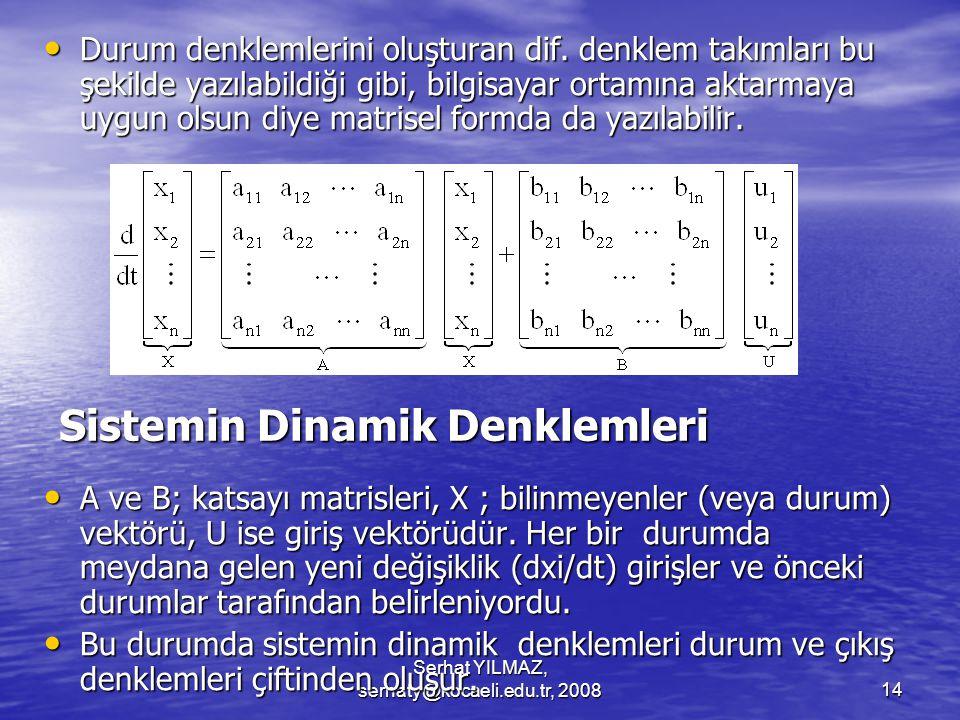 Sistemin Dinamik Denklemleri