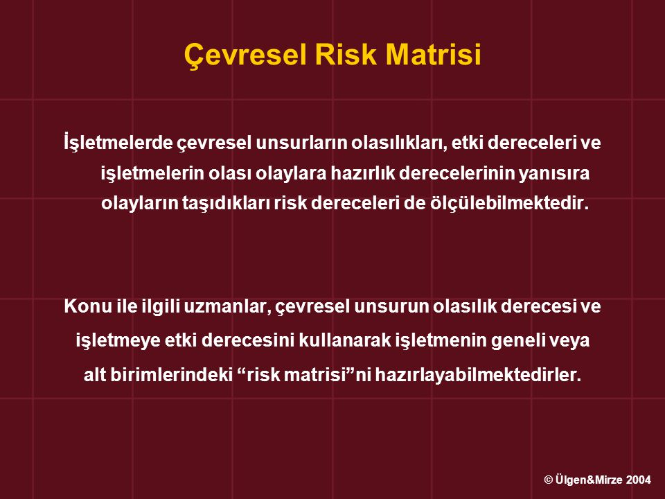 Çevresel Risk Matrisi