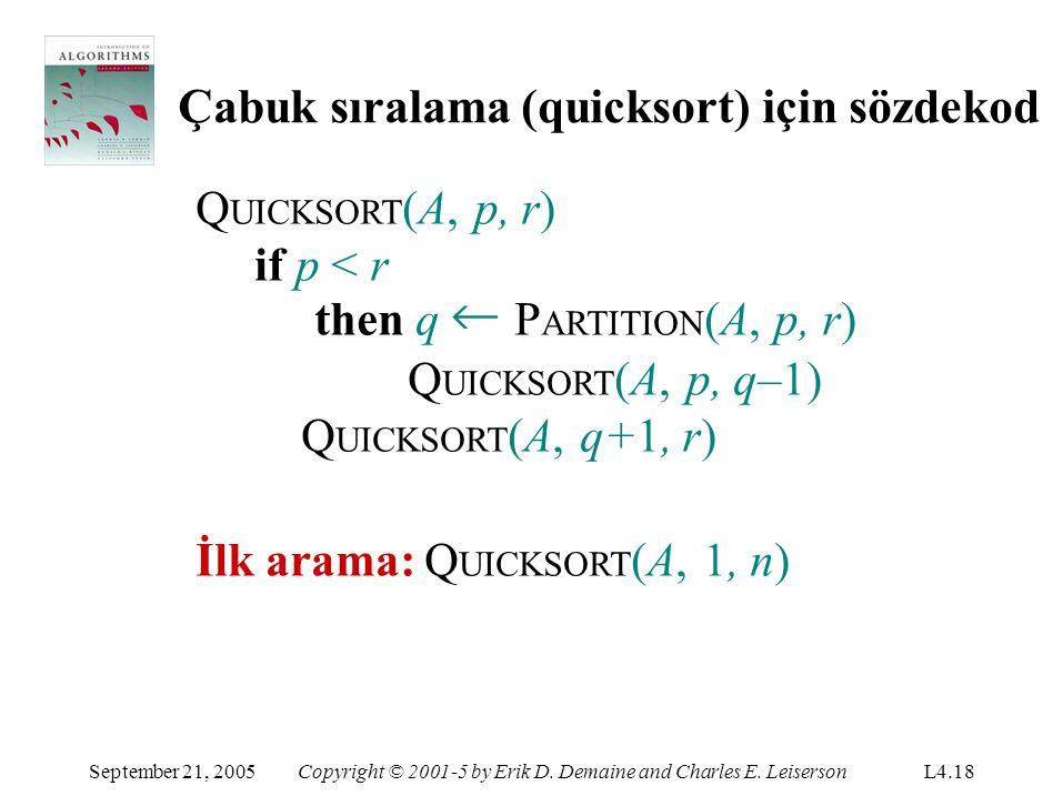 Çabuk sıralama (quicksort) için sözdekod