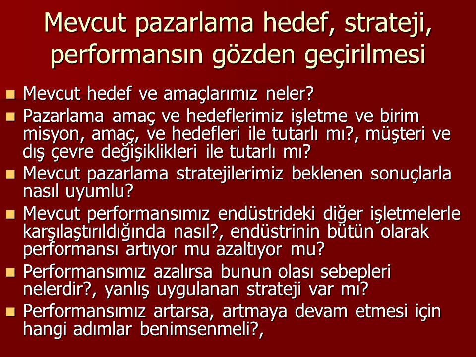 Mevcut pazarlama hedef, strateji, performansın gözden geçirilmesi