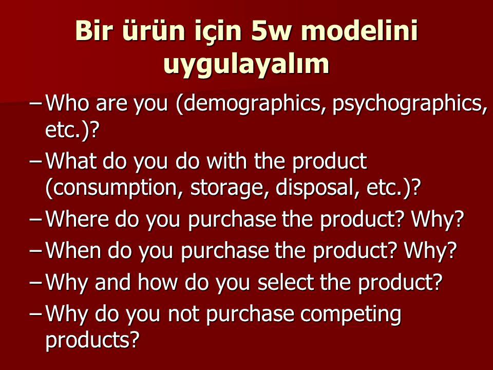 Bir ürün için 5w modelini uygulayalım