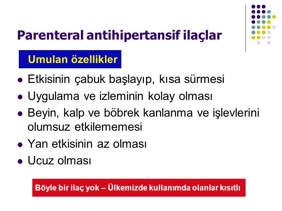 Parenteral antihipertansif ilaçlar